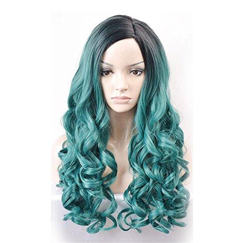 Lange Gelockt Welle Blau Cosplay Synthetik Perücken Dunkel Wurzel Ombre Farbe Cosplay Party Haar Stück zum Frau mit Perücke Deckel