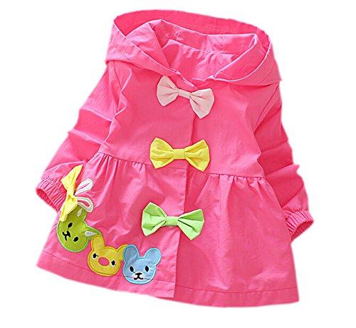 DELEY Baby Mädchen Frühling Herbst Candy Farbe Bogen Trench Jacke Mantel Kleid Outwear mit Kapuze Hot Pink M