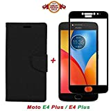 #8: Like It Grab It Luxury Mercury Diary Wallet Style Black Flip Cover Case for Motorola Moto E4 Plus Flip Cover - Moto E4 Plus Flip Cover + 2.5D curved 3D Edge to Edge Tempered Glass Mobile Screen Protector (Black-Black)