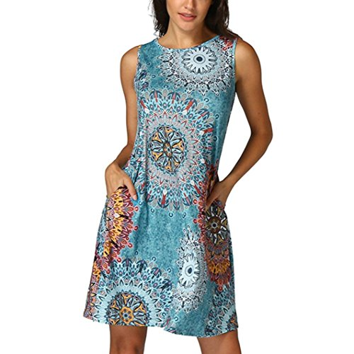 Damen Kleider Xinan Sommer ärmellos Vintage Boho Maxi Abend Party Strand Floral Dress (XL, Multicolor)