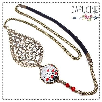 Headband avec Cabochon Verre Coquelicots Blanc Noir et Rouge, Estampe et Chaîne Bronze, Accessoire Cheveux avec Élastique
