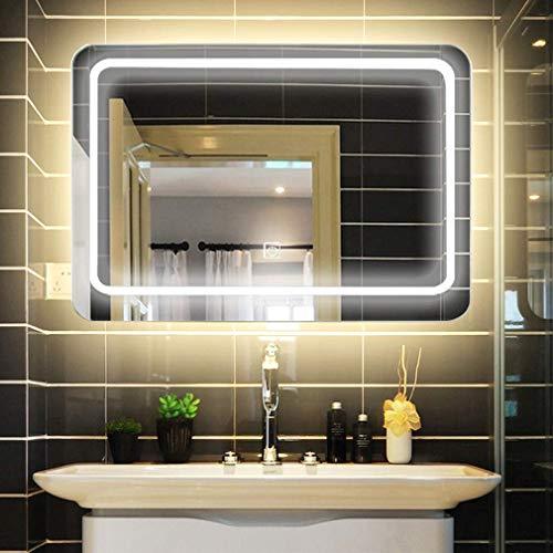 LUVODI Espejo de Baño con Iluminación LED Espejo de Pared con Interruptor Táctil 3 Modos Ajustables...