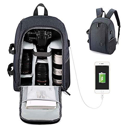 aafd992cd7 Zaino Fotografico Professionale, BAGTECH Fotocamera Grande Laptop Borsa  Impermeabile DSLR per Canon, Nikon,