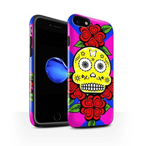 STUFF4 Glanz Harten Stoßfest Hülle / Case für Apple iPhone 8 / Schwarz Muster / Süßigkeiten Schädel Kollektion Gelb/Rose