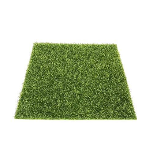 PPX Künstliche Rasen Gras Miniatur Garten Verzierung Kunstrasen 15x15 cm Simulation Gras Rasen DIY Puppenhaus Garten Ornament (Grün)(Puppenhaus Rasen)