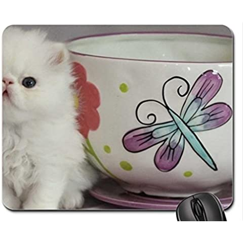 teacup & cute persian kitty Mouse Pad, Mousepad (Cats Mouse Pad) - Kitty Teacup
