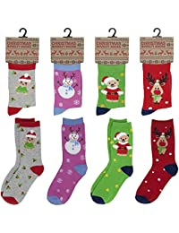 4f6846e930c7 Kids/Childrens 4 Pack Colourful Fun Cotton Rich Novelty Xmas Christmas  Socks 3 Size (