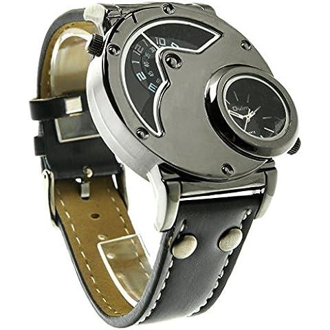downj da uomo Dual Time Analogico Al quarzo orologio da polso con quadrante doppio, in acciaio, design confortevole cinturino in pelle, due fuso orario, colore: nero - Fossil Womens Metallo