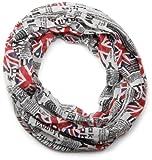 styleBREAKER fular de tubo Union Jack con estampado de periódico, estilo periódico, ligero y sedoso, unisex 01016078, color:Blanco