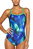 ALove Damen Einteiler Racerback Badeanzug Damen Figurformend Blau L