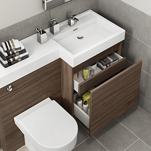 1200 mm Modern Walnut Bathroom Drawer Vanity Unit Basin ...