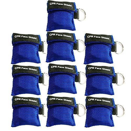 LSIKA-Z 10 Stücke CPR Mask RESPI-Key Beatmungsmaske Schlüsselanhänger Beatmungshilfe Notfalltuch Taschenmaske Erste Hilfe (BLUE)