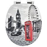 WC-Sitz Toilettensitz mit Deckel Motiv - London aus MDF-Holz mit Absenkautomatik | Juskys