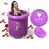 Li Li Na Shop Barril de baño para adulto Barril de baño Bañera plegable Bañera Bañera inflable Cubo de plástico para fumigación con vapor (Color : Purple)