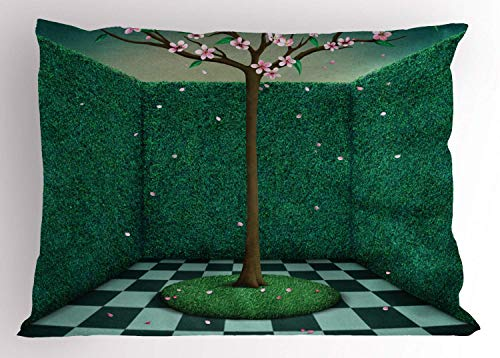 Mural Pillow Sham, Japanese Pink Cherry Blossom Tree Surrounded by Outdoor Garden Maze Inspired Graphic, Decorative Standard Queen Size Printed Kissenbezug Pillowcase, 18 X 18 Inches, Multicolor -