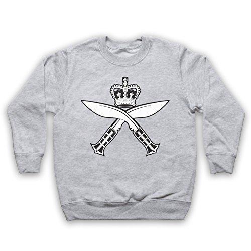 Gurkha Regimental Insignia Badge Logo Kinder Sweatshirt, Grau, 5-6 Jahren (32-zoll-tv Insignia)