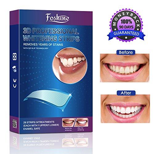 Foshine Bleaching Zähne White Strips Zahnaufhellung Zahnweiß 28pcs Teeth Whitening Zahn Bleaching Streifen Teeth Whitener für Weiße Zähne