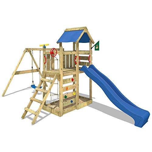 WICKEY MultiFlyer Spielturm Kletterturm mit Rutsche Schaukel Sandkasten + Zubehör-Komplettset (blaue Rutsche / blaue Dachplane)