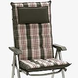 Hochlehnerauflage mit Kopfpolster Hersteller: SUN GARDEN Design Sylt Dessin 10525-700 Maße ca.120x50x9 cm (Nur Auflage ohne Stuhl)