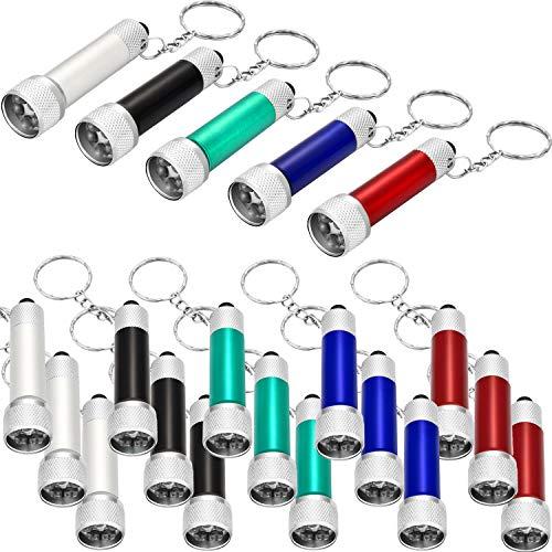 20 pezzi mini torcia elettrica pila tascabile portachiavi 5 lampadine led portachiavi per il campeggio bambini festa favori (stile 1)