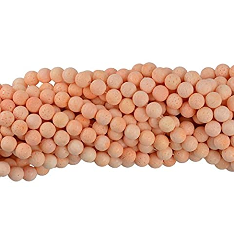 Sharplace Wholesale Smooth Natural Pink Sponge Coral Round Loose Beads for Charm Ornament DIY craft Necklace Bracelet for women - 10mm