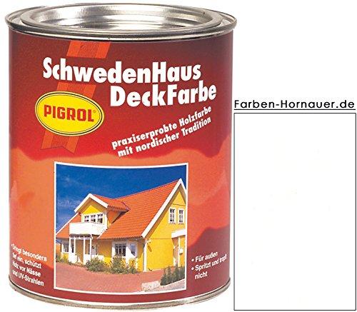 Pigrol Schwedenhaus-Deckfarbe, weiss, 2,5L Wetterschutzfarbe Holzfarbe für aussen