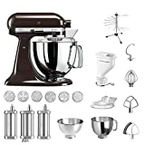 KitchenAid Küchenmaschine Artisan, 5KSM175PS, Pasta Paket inkl. TOP Zubehör: Nudelvorsatz mit 3 Walzen, Pastapresse (kurz) mit 6 Aufsätzen, Nudeltrockner und Standardzubehör (Espresso)