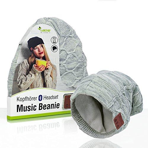 Sharon Music Headset Bluetooth Beanie | Mütze Funkkopfhörer Stereo-Lautsprecher-Mikrofon Wireless Cap | Smartphone kompatibel | Grau Strickmütze