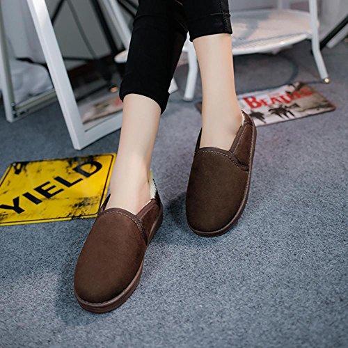 SHANGXIAN Inverno Inverno Inverno Boots Stivali Pelliccia Poca acqua bassa per aiutare le scarpe pigre brown
