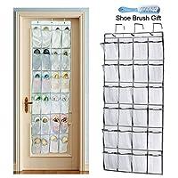 Sunblue Over Door Shoe Organiser Storage Rack, 24 Mesh Pockets Heavy Duty Back Door Shoe Holder Hanging Holder Stand Tidy Organiser for Closet