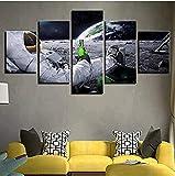 LAKHAFZY incorniciato Canvas Wall Art Picture Decorazione della casa 5 Astronauta Immagine Soggiorno HD Stampa Poster Astratto Luna Paesaggio