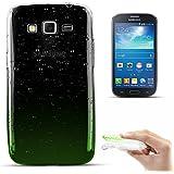 Zooky® Carcasa con gotas de lluvia ultra fina y suave de alta calidad TPU / funda para Samsung Galaxy Grand 2 / G7106, Transparente / Verde