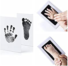 Desi Rang Baby Hand and Footprint kit, Infant Foot and Handprint, Hand Foot Impression Print DIY, No Touch, Safe Non Toxic Ink pad, Color : Black