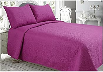 3pc Floral Vintage Patch Work Bedspread Comforter Sets | Anti-allergic Color Retentive Tear Resistant Wrinkle Free Material Soft & Delicate Durable | Purple For King Sized Bed 0