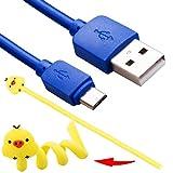 YoRHa 10FT 3M Micro Supplémentaire Longue USB Haute La vitesse Micro USB Charge Câble (Bleu)pour PS4 Dualshock 4 Manette,Contrôleur Xbox One,Appareils Android, Livré avec Bobineuse Organisateur de fil x 1