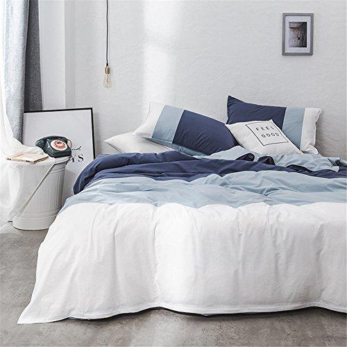 LongYu Einfache Reine Baumwolle im europäischen Stil Decke Vier Stücke, Zwilling (3 Stück), Königin, König. (Color : Blue, Size : Twin)