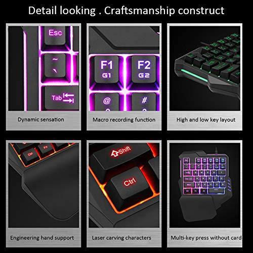 Pueri Clavier mécanique clavier de jeu à une main mini-clavier de jeu repose-mains à 35 touches Clavier de jeu RVB Contre-jour coloré 8