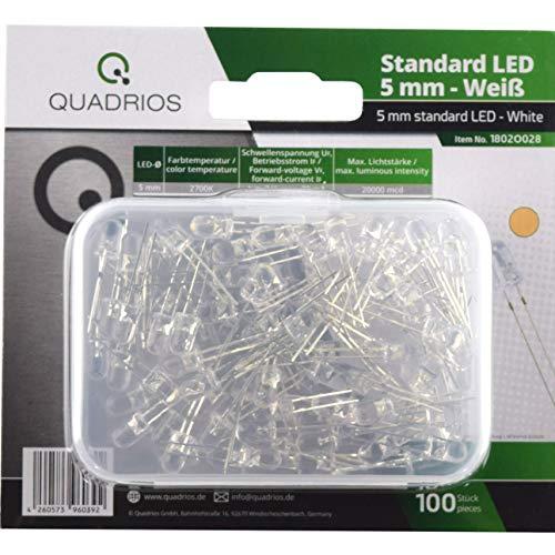 100 Warm-weiße Led (QUADRIOS GmbH Standard-LED-Set Warm-Weiß 5 mm Leuchtdioden und Dokumentation (100 Stück) Superhell)