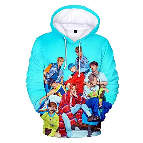 Kapuzenpullover,Unisex 3D Gedruckte Song Und Dance Kombination Thema Jugend Kapuzen Sweatshirt Lose Lässig Paar Kapuzen Shirt Top, Ateez, M