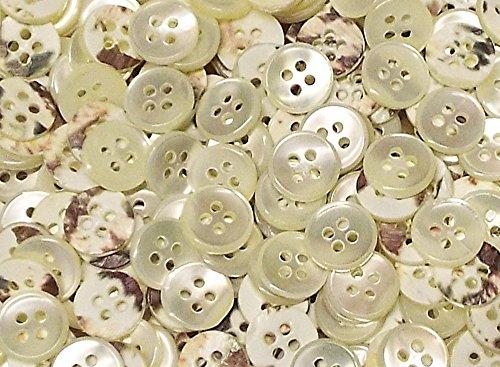 50 Echt Perlmutt Hemden Knöpfe 10 mm natur