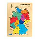 Holzpuzzle Deutschland aus fein geschliffenem Holz, 12-tlg. Puzzle mit allen Bundesländern, Landeshauptstädten und Nachbarländern, Spielspaß und Lerneffekt zugleich, perfekt für Grundschüler geeignet