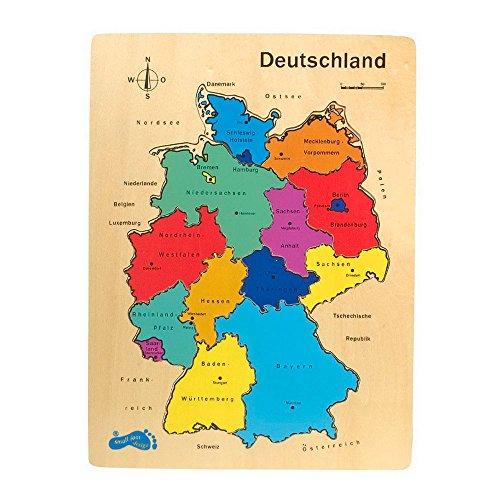 nd aus fein geschliffenem Holz, 12-teiliges Puzzle mit allen Bundesländern, toller Spielspaß und Lerneffekt zugleich, perfekt geeignet für Grundschüler (Karte Puzzle)