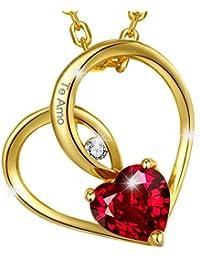 """MARENJA Cristal-Collar para Mujer en Corazón Chapado en Oro con Corazón Cristal Rojo-Grabado """"Te Amo""""-Chapado en Oro-Regalo para Mujer-44+5cm"""