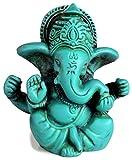 BUDDHAFIGUREN/Billy Held Ganesha Ganapati Ganesh Statue aus Resin 6,5 cm türkis