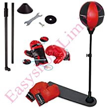 FB FunkyBuys® Kids Childrens Sports Boxing Punching Bag Standing w/ Pair of Gloves Adjustable Height (92-130cm) For Kids & Teenagers (SI-TY1092)