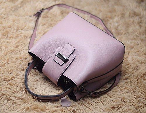 Leder echtes Leder Tasche fashion Bucket Bag Persönlichkeit Freizeit single Schulter obliquer Querschnitt Kopf Schicht Rindsleder Tasche, 25 * 14 * 22 cm Lila