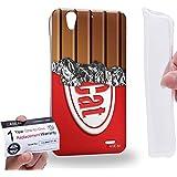 Case88 [Huawei Ascend G630] Gel TPU Carcasa/Funda & Tarjeta de garantía - Art Fashion Red Cat Chocolate Bar Art1323