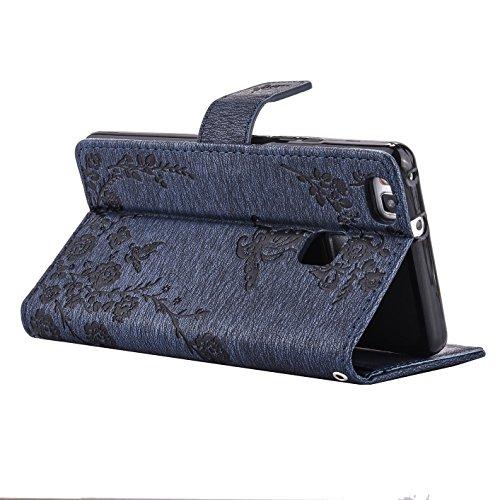 Qiaogle Telefon Case - PU Leder Wallet Schutzhülle Case für Apple iPhone 7 (4.7 Zoll) - LM06 / Hellblau Diamant Schmetterling Blume LM03 / Blau Diamant Schmetterling Blume