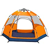 CloudWhisper Double Layer Automatische Sechseck Camping Zelt mit 2 Türen für Big Family, Orange for 6-8 Person