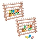 PandaHall Elite 60 Bobina di Legno Filo Supporto Thread Rack per Macchina da Cucire, BurlyWood, 32x40cm